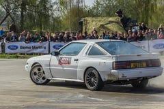 Cascades de voiture, exposition dans MTS Szczecin Images stock