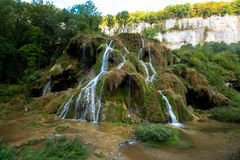 Waterfalls of Baumes les Messieurs. The Cascades des Tufs in Baumes les Messieurs in the French Jura Region royalty free stock photography