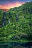Cascades en île de Flores Photo stock