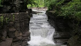 Cascades in Enfield Glen. Robert H. Treman State Park - Finger Lakes Area - New York stock video footage