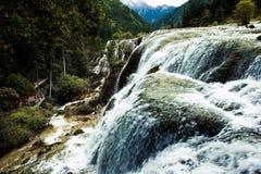 Cascades et arbres en vallée de Jiuzhaigou, Sichuan, Chine Image stock