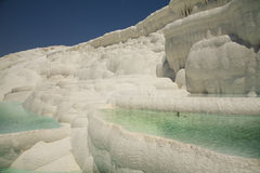 Cascades of flowing down water in Turkey.Pamukkale. The Cascade of snow-white pools in a sunny day Stock Image