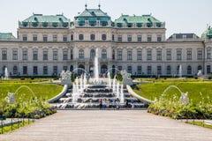 Cascades fontaine, jardin de belvédère à Vienne, Autriche photographie stock