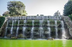 Cascades Garden of the Waterfalls of fountains in Rome, Italy Royalty Free Stock Photo