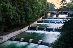 Cascades at the isar in munich Royalty Free Stock Photo