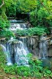 Cascades, l'eau de vert vert Photos stock