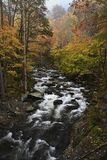Cascades in Little Pigeon River in the Autumn. Large cascade in Litttle Pigeon River at Great Smoky Mountains National Park, TN USA stock photography