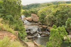 Cascades in the Mahai River in the Kwazulu-Natal Drakensberg. The Cascades in the Mahai River in the Kwazulu-Natal Drakensberg is a popular swimming pool and Royalty Free Stock Images