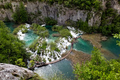 Cascades and pathway, Plitvice National Park, Croatia Stock Image
