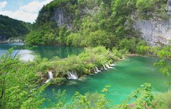 Cascades at Plitvice lakes Royalty Free Stock Images