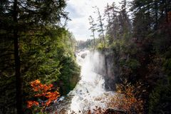 Magic waterfall scene. The cascades of running water Stock Photography