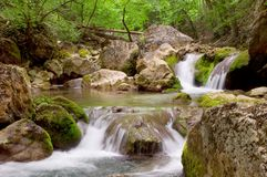 Cascades in spring forest. In Crimean canyon royalty free stock images
