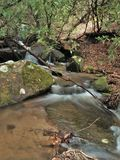 Cascades on Stone Mountain Creek in North Carolina. Water cascades over rocks creating small falls along Stone Mountain Creek in Stone Mountain State Park.  Low Royalty Free Stock Images