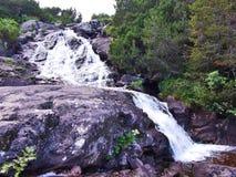 Cascades sur le courant de Murgbach dans la vallée alpine de Murgtal photo stock