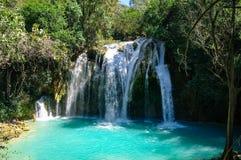 Cascades van de waterval van Gr Chiflon, Chiapas stock fotografie