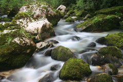 Cascades van rivier Soca Royalty-vrije Stock Foto's