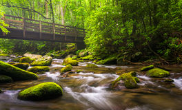 Cascades and walking bridge over the Oconaluftee River Royalty Free Stock Image