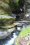 Cascades at Watkins Glen State Park. Cascade falls and steep walls of the gorge. View from the walking trail stock photos