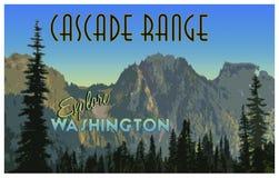 Cascadez l'illustration de gamme avec l'effet d'affiche de tourisme de vintage Image stock