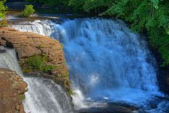 Cascading Falls. Desoto Falls Alabama in Summer afternoon sun Stock Photo