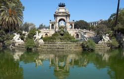 Cascading fountain. Barcelona. Spain stock photos