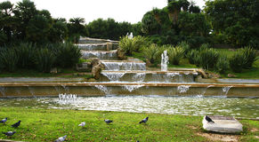 Cascading fountain in the gardens of Miramar Stock Image