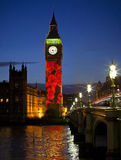 Cascading Poppies Projected onto the Elizabeth Tower in London Royalty Free Stock Photography