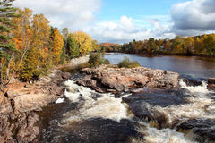 Cascading River and Fall Colors Stock Photo