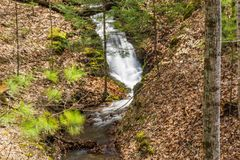 Cascading Steam in the Wooded Mountains of Virginia, USA. A cascading mountain stream located in the George Washington National Forest, Bath County, Virginia royalty free stock photo