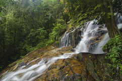 Cascading tropical waterfall. wet and mossy rock, surrounded by green rain forest Stock Photo