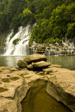 Cascading water fall. Twin Falls in Rock Island State Park Tennessee Royalty Free Stock Photos
