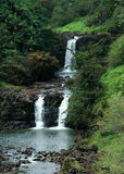 Cascading Water fall in hawaii Royalty Free Stock Photo