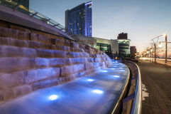 Cascading water feature. A night shot during dusk of Caesar palace water feature windsor ontario stock photography