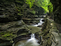 Cascading water on the Gorge Trail in Watkins Glen State Park Stock Photography