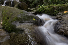 Cascading water stream at Kanching waterfall, located in Malaysia,wet and mossy rock, surrounded by green rain forest Royalty Free Stock Photography