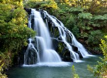 Cascading waterfall. A cascading waterfall surrounded by vegetation Stock Image