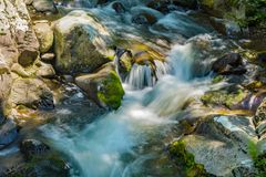 Cascading Waterfall in the Mountains. A cascading waterfall located in the Blue Ridge Mountains of Virginia, USA Royalty Free Stock Images