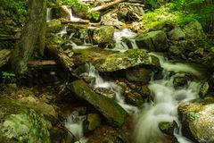 Cascading Waterfalls on Fallingwater Creek. Located near Peaks of Otter on the Blue Ridge Parkway, Virginia, USA at Milepost 83.1 Royalty Free Stock Photos