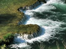 Cascading waterfalls in Krka National Park Stock Photos