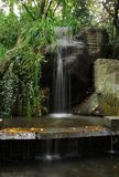 Cascading waterfalls among the stones in the summer Green Park. Crimea Ukraine royalty free stock images