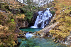 Cascading Waterfalls by the Watkins path on the Afon Cwm Llan, Snowdon Stock Photography