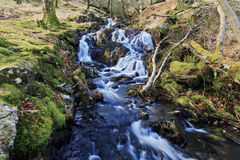 Cascading Waterfalls by the Watkins path flowing into the Afon Cwm Llan, Snowdon Stock Photography