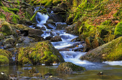 Cascading Waterfalls by the Watkins path flowing into the Afon Cwm Llan, Snowdon Royalty Free Stock Photography