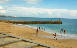Cascais Beach. View of a beach in the touristic village of Cascais, Portugal. Photo taken on: September 23th, 2014 royalty free stock image