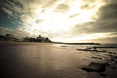 Cascais embankment at low tide. dramatically Stock Images