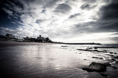 Cascais embankment at low tide. dramatically Royalty Free Stock Photos