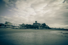 Cascais embankment at low tide. dramatically. Tinted Royalty Free Stock Photo