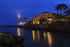Cascais muzeum przy nocą i latarnia morska Zdjęcia Stock