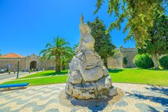 Statue Peninsular War Cascais. Cascais, Portugal - August 6, 2017: Monument Infantry Regiment or statue of Peninsular war against Cascais fortress Our Lady of Stock Image