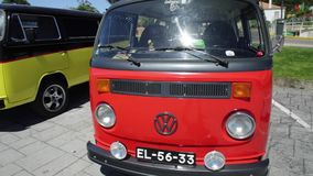Red Volkswagen hippie bus